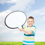 Smiling little boy with blank text bubble Stock Images