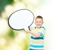 Smiling little boy with blank text bubble Royalty Free Stock Photo