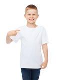 Smiling little boy in blank white t-shirt Stock Image