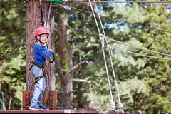 Kid in adventure park. Smiling little boy climbing in treetop adventure park, healthy active lifestyle concept Stock Photos