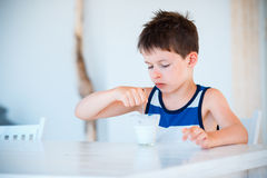 Smiling little boy eating delicious yogurt Stock Image