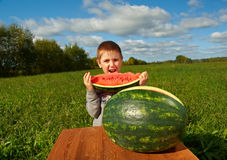 Smiling little boy eating watermelon Royalty Free Stock Image