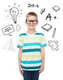 Smiling little boy in eyeglasses Stock Photography