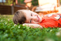 Smiling little boy in the grass royalty free stock photo