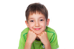 Smiling little boy in green t-shirt Stock Image