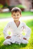 Smiling little boy in kimono Stock Photo