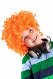 Smiling little boy  listening to music in headphon Stock Photography