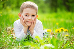 Smiling little boy lying in green grass Stock Photo