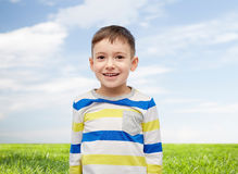 Smiling little boy over blue sky and green field Stock Images