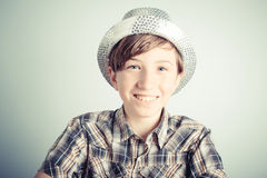Smiling little boy with party hat Royalty Free Stock Photography