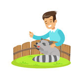 Smiling little boy petting and feeding a raccoon in a mini zoo. Colorful cartoon character vector Illustration Stock Photo