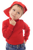 Smiling little boy in red hat Royalty Free Stock Photo