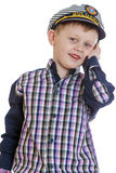 Smiling little boy in a sea cap Stock Photography