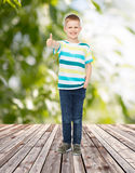 Smiling little boy showing thumbs up. Childhood, summer, gesture and people concept - smiling little boy showing thumbs up over plants and wooden floor Royalty Free Stock Image