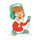Smiling little boy sitting on the floor and listening to music in headphones, colorful cartoon character vector Royalty Free Stock Photo