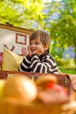 Smiling little boy sitting in a suitcase Royalty Free Stock Photo
