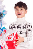 Smiling little boy with small Christmas gift box Stock Photos