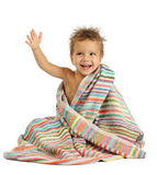 Smiling little boy in towel. Smiling little boy with wet head in towel Stock Photos