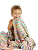 Smiling little boy in towel Stock Photos