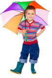 Smiling little boy with umbrella Stock Photography
