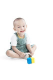 Smiling little boy on white Stock Photos