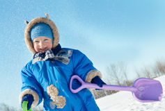 Smiling little boy in winter Royalty Free Stock Image