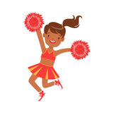 Smiling little cheerleader dancing with red pompoms. Colorful cartoon character vector Illustration Royalty Free Stock Images