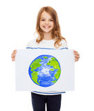 Smiling little child holding picture of planet Royalty Free Stock Photo