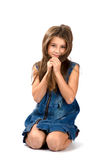 Smiling little girl. Sitting isolated Stock Photography