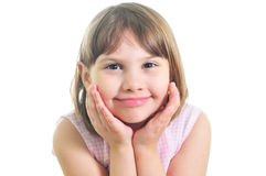 Smiling little girl. Smiling girl isolated on the white background Stock Photo