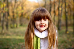 Smiling little girl in the autumn forest Stock Images