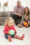 Smiling little girl with ball Stock Photography