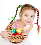 Smiling little girl with basket Stock Image