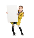 Smiling little girl with blank sheet in hands Stock Photos