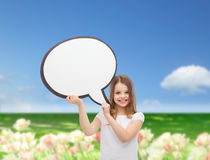 Smiling little girl with blank text bubble Stock Image