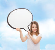 Smiling little girl with blank text bubble Stock Photos
