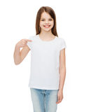 Smiling little girl in blank white t-shirt Royalty Free Stock Image