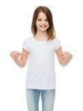 Smiling little girl in blank white t-shirt Stock Photography