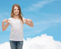 Smiling little girl in blank white t-shirt Royalty Free Stock Photos