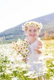 Smiling little girl with bouquet of chamomiles Stock Image