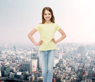 Smiling little girl in casual clothes Royalty Free Stock Images