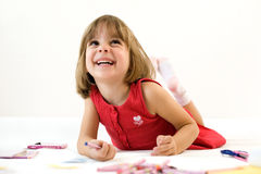 Smiling little girl, crayon Stock Images