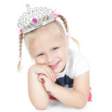 Smiling little girl with crown Stock Photo