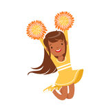 Smiling little girl dancing with yellow pompoms. Colorful cartoon character vector Illustration Royalty Free Stock Photography