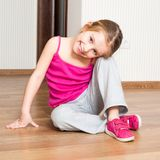Little girl engaged in fitness Royalty Free Stock Photography