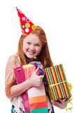 Smiling little girl with gift box Stock Photo