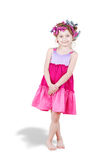 Smiling little girl with  hair-curlers Royalty Free Stock Photos