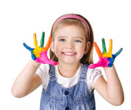Smiling little girl with hands in the paint isolated on white. Beautiful smiling little girl with hands in the paint isolated on white royalty free stock photo