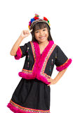 Smiling little girl with hill tribe dress Royalty Free Stock Photography