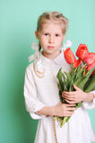 Smiling little girl holding tulips. Portrait of smiling cute kid girl holding red tulips on blue background in studio Stock Photography